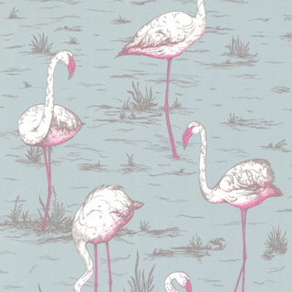 Cole and Son behang - Flamingos blue 66/6044