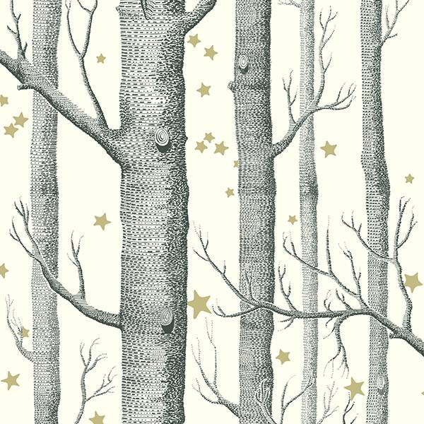 Cole and Son behang - Woods & stars - black & white - 103/11050
