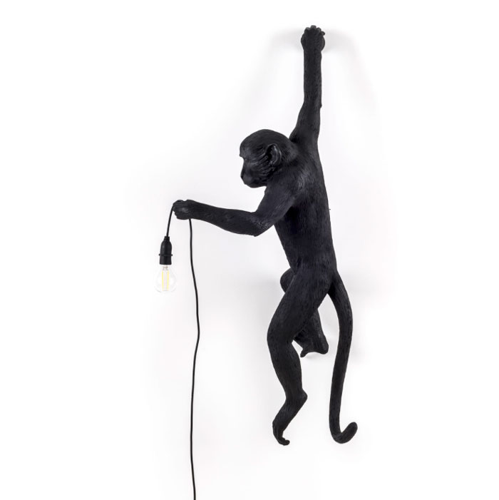 Seletti Monkey lamp hanging Black Outdoor Proof Right