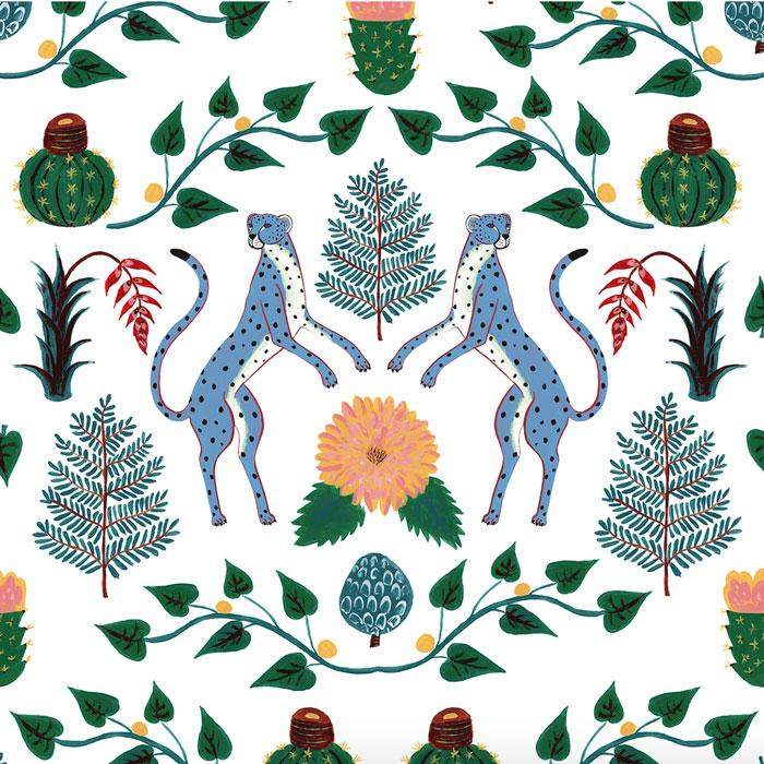 Coordonne behang cheetahs azul