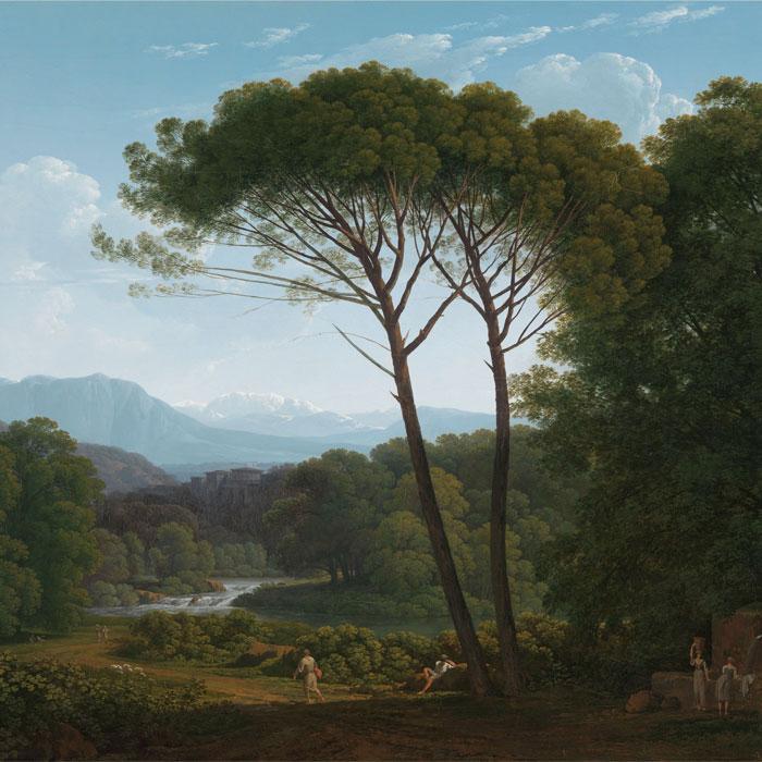 Grutsk behang Italiaans landschap met pijnbomen