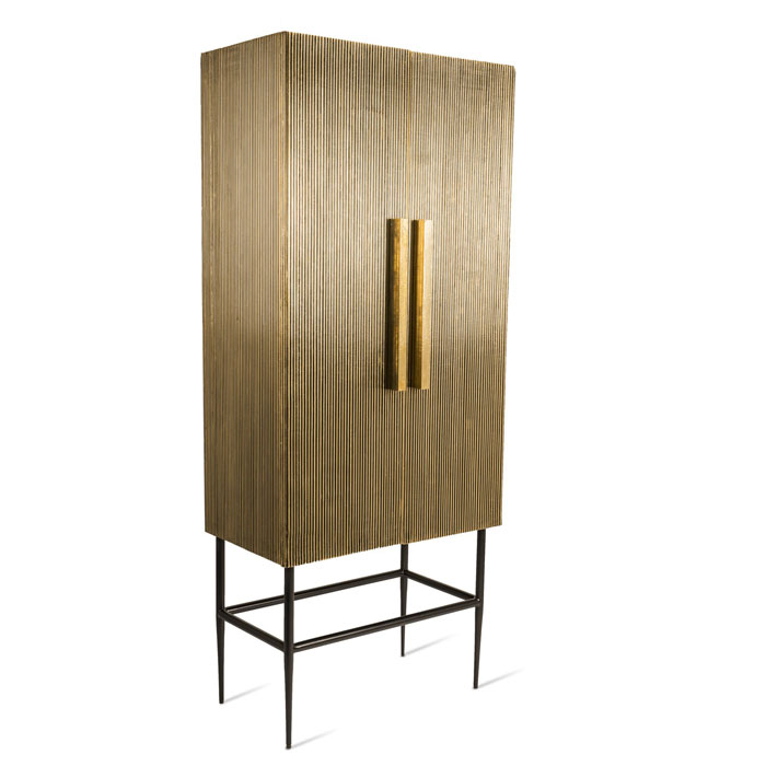 Pols Potten Cabinet ribbel gold tall kast