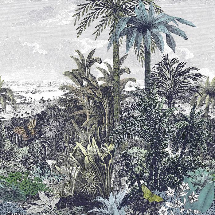 1838 Wallcoverings behang Paradise Found Emerald green mural