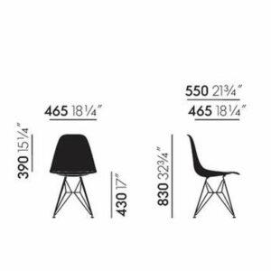Vitra Eames DSR stoel zwart gepoedercoat onderstel