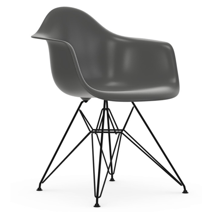 Vitra Eames Plastic Armchair DAR zwart onderstel granite grey