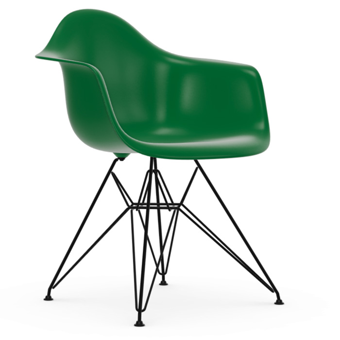 Vitra Eames Plastic Armchair DAR zwart onderstel green