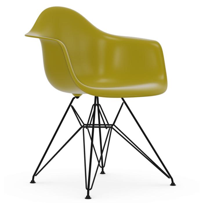 Vitra Eames Plastic Armchair DAR zwart onderstel mustard