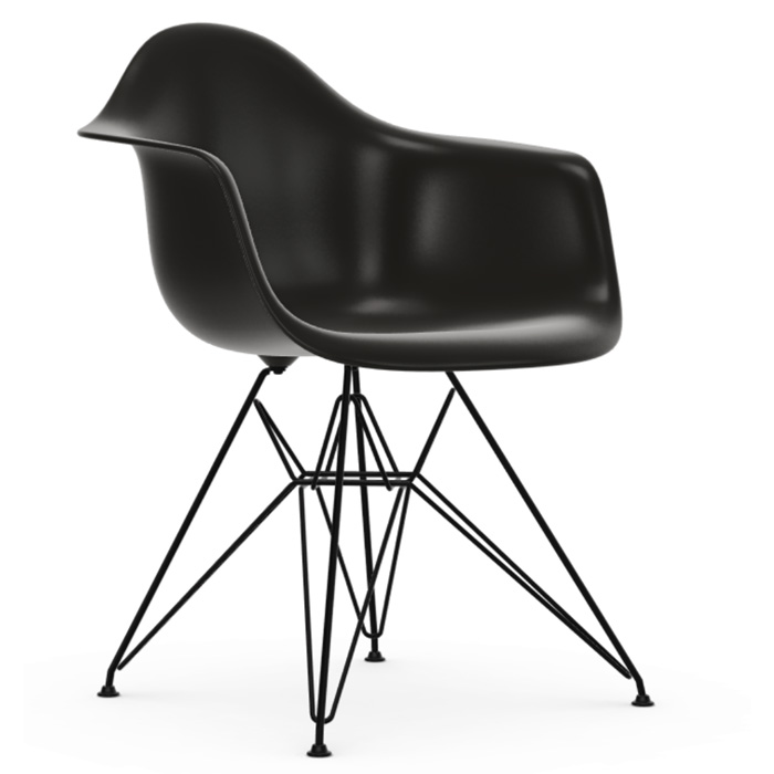 Vitra Eames Plastic Armchair DAR zwart onderstel zwart